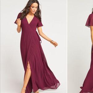 Noelle Flutter Wrap Dress (Merlot)